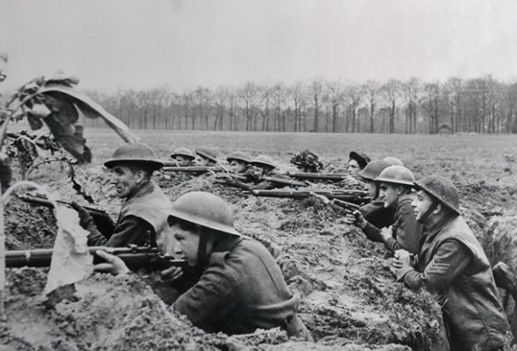 This British infantry unit fights in a trench that is within 200 yards of German lines. (1914)