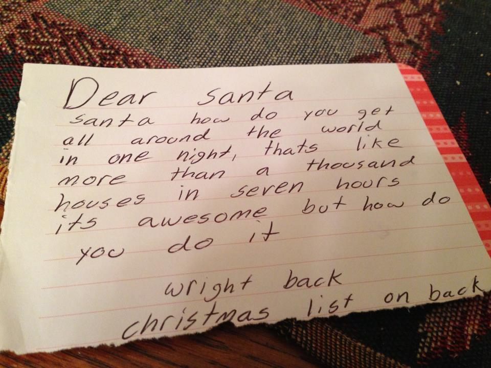 Shona's daughter writes to Santa
