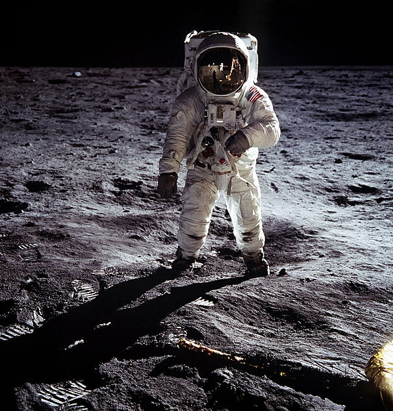Some dispute that the U.S. sent a man to the moon. Astronaut Buzz Aldrin is the first man to walk on the moon's surface in 1969