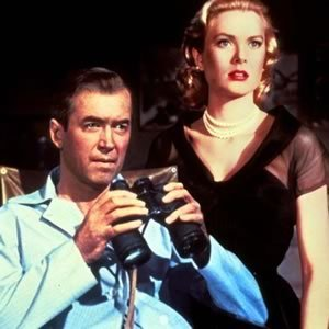 "James Stewart as L.B. ""Jeff"" Jeffries and Grace Kelly as Lisa Freemont, ""Rear Window"" (1954)"