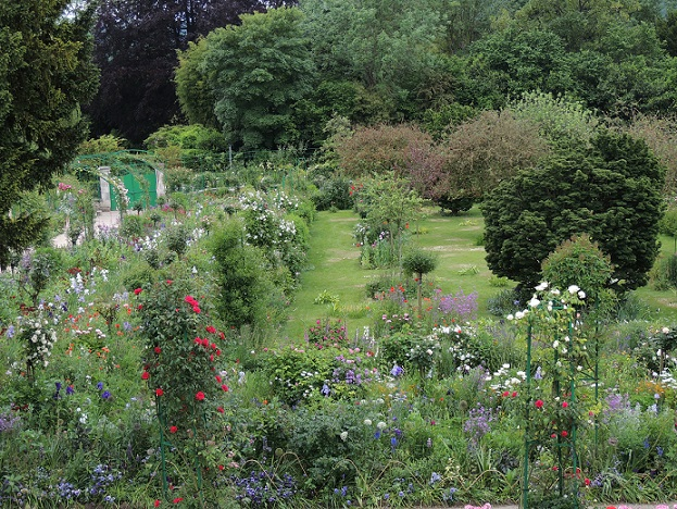 a view of Monet's garden from the upstairs window of his home