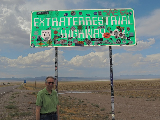 Dave by the Extraterrestrial Highway (Route 375) - dedicated by the Nevada Department of Transportation in April 1996