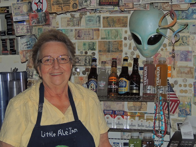 UFOs are not alien to Pat Travis-Laudenklos, owner of Little A'LE'INN in Rachel, Nevada