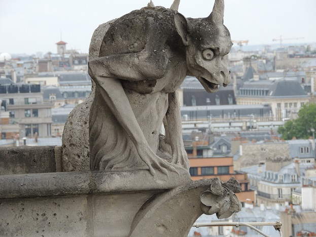 A chimera on Notre Dame Cathedral's balcony