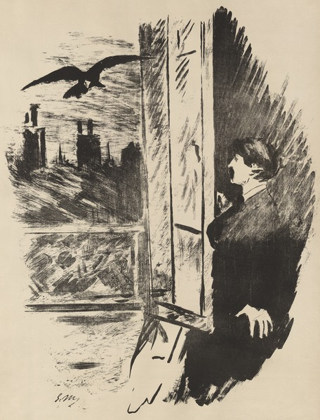 The Raven flying in open window - Manet