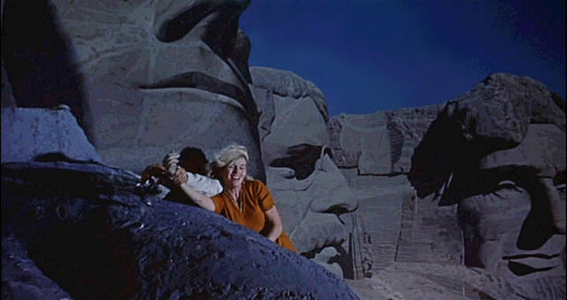 North by Northwest - movie trailer screenshot - climbing Mt. Rushmore