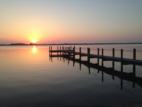 Pier - sunrise on Indian River, Suntree, Florida