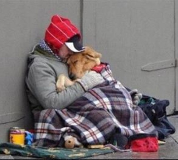 Homeless man with dog in the cold - Copy