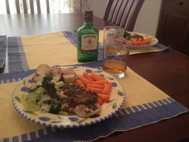 Irish dinner - Mustard Roasted Chicken and Spring Cabbage - 3-16-14