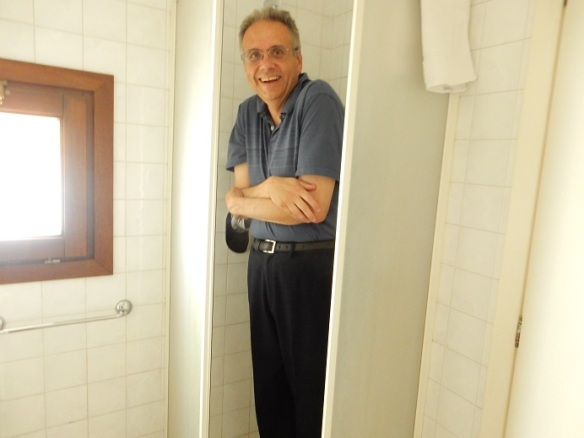 Rome - family vacation - June 2015 (284) - Dave standing in shower in our hotel room