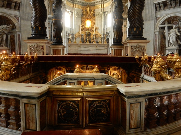 Rome - family vacation - Vatican - June 2015 (68) - the confessio - under papal alter in Basilica