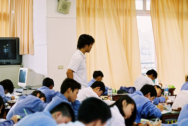 Students - testing in class at a Taiwanese school. 2006